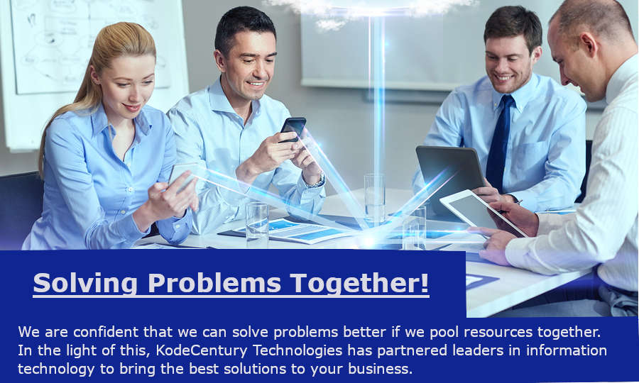 A team of working who are using various digital gadgets together to perform a task to demonstrate the values of KodeCentury Technologies